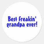 El mejor abuelo de Freakin nunca (azul) Pegatina Redonda