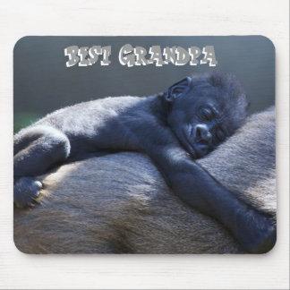 El mejor abuelo, gorila del bebé que abraza el mon tapete de raton