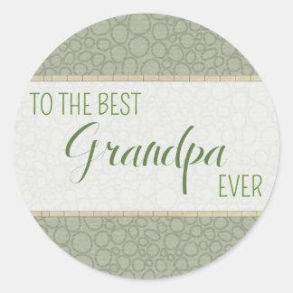 El mejor abuelo NUNCA alrededor de los pegatinas Etiqueta Redonda