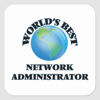 El mejor administrador de la red del mundo calcomania cuadradas personalizadas