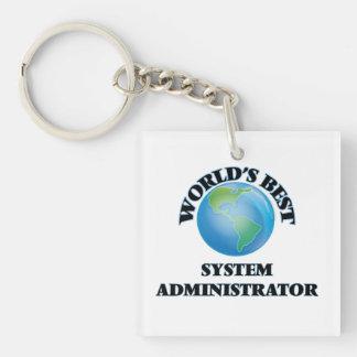 El mejor administrador del sistema del mundo llavero cuadrado acrílico a una cara