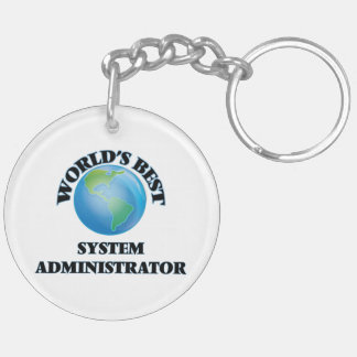 El mejor administrador del sistema del mundo llavero redondo acrílico a doble cara