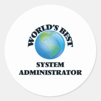 El mejor administrador del sistema del mundo pegatina redonda