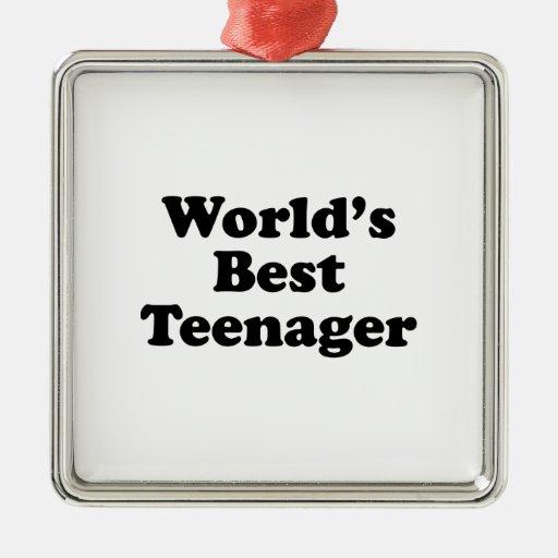 El mejor adolescente del mundo adorno navideño cuadrado de metal