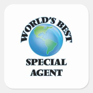 El mejor agente especial del mundo pegatina cuadrada