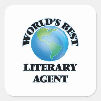 El mejor agente literario del mundo pegatina cuadrada