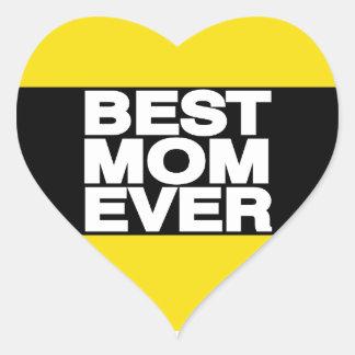 El mejor amarillo de LG de la mamá nunca Pegatinas Corazon Personalizadas