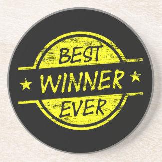 El mejor amarillo del ganador nunca posavasos para bebidas