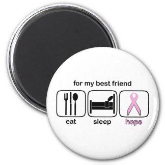 El mejor amigo come la esperanza del sueño - cánce imán redondo 5 cm