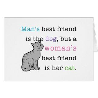 El mejor amigo de la mujer - su gato tarjeta de felicitación