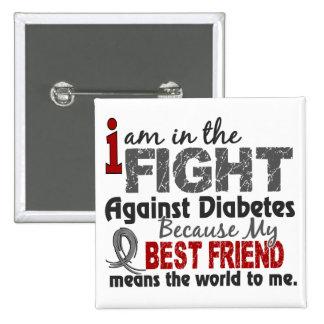 El mejor amigo significa el mundo a mí diabetes pin cuadrado