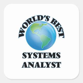 El mejor analista de sistemas del mundo calcomanía cuadradas personalizadas