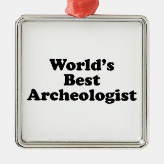 El mejor arqueólogo del mundo adorno navideño cuadrado de metal