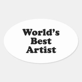 El mejor artista del mundo pegatinas de óval personalizadas