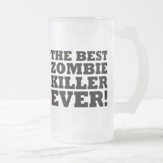 El mejor asesino del zombi nunca taza de cristal