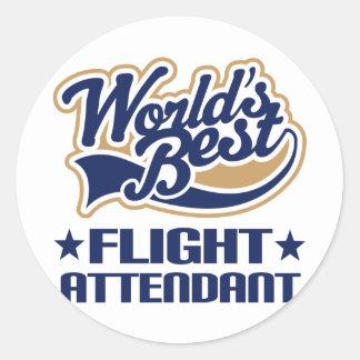 El mejor asistente de vuelo de los mundos pegatina redonda