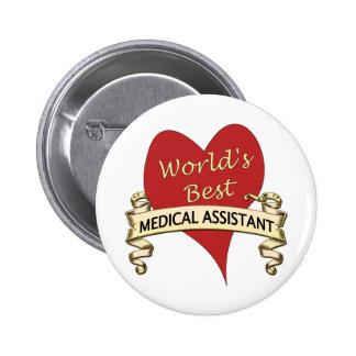 El mejor auxiliar médico del mundo pin redondo de 2 pulgadas