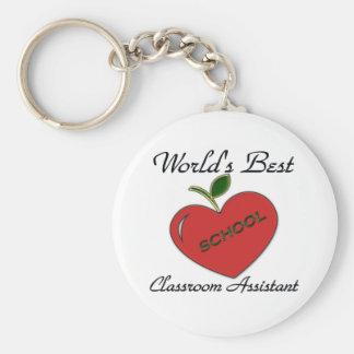 El mejor ayudante de la sala de clase del mundo llavero redondo tipo pin