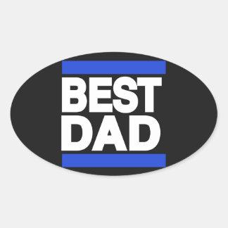 El mejor azul del papá pegatina ovalada