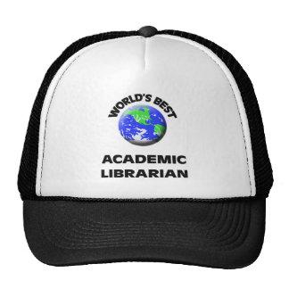 El mejor bibliotecario académico del mundo gorros bordados
