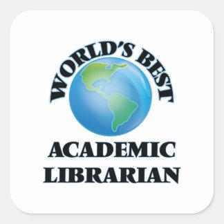 El mejor bibliotecario académico del mundo pegatina cuadrada