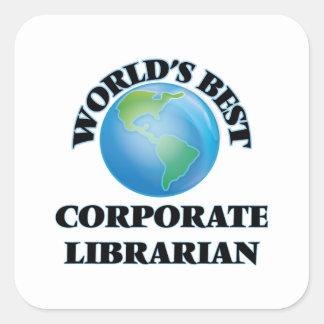 El mejor bibliotecario corporativo del mundo pegatina cuadrada