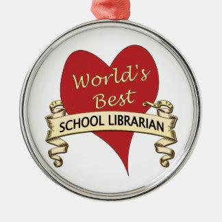 El mejor bibliotecario de la escuela del mundo adorno navideño redondo de metal