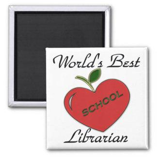 El mejor bibliotecario de la escuela del mundo imán cuadrado