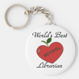 El mejor bibliotecario de la escuela del mundo llavero redondo tipo pin