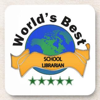 El mejor bibliotecario de la escuela del mundo posavasos de bebidas