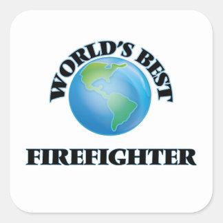 El mejor bombero del mundo calcomanías cuadradass personalizadas