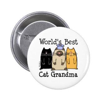 El mejor botón de la abuela del gato del mundo pin redondo de 2 pulgadas