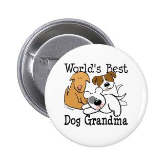 El mejor botón de la abuela del perro del mundo pin