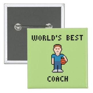 El mejor botón del entrenador de béisbol del mundo pin cuadrado