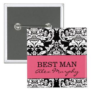 El mejor botón del hombre pin cuadrado
