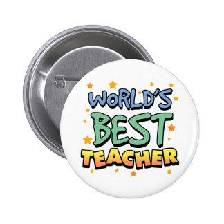 El mejor botón del profesor del mundo pin redondo de 2 pulgadas