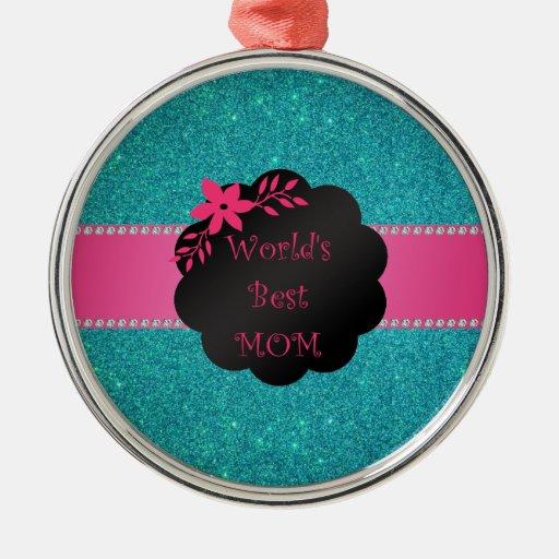 El mejor brillo de la turquesa de la mamá del adorno navideño redondo de metal
