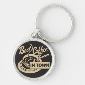 El mejor café en ciudad llavero redondo plateado