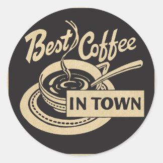 El mejor café en ciudad pegatina redonda