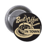 El mejor café en ciudad pin redondo de 2 pulgadas