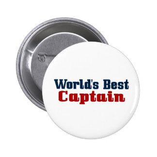 El mejor capitán de los mundos pin redondo de 2 pulgadas