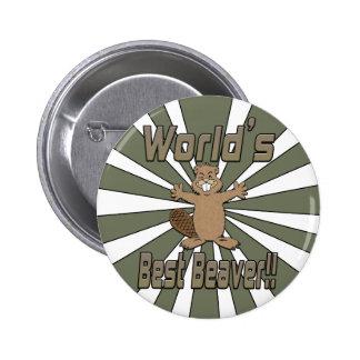 El mejor castor de los mundos pin redondo de 2 pulgadas