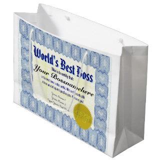 El mejor certificado de Boss del mundo Bolsa De Regalo Grande