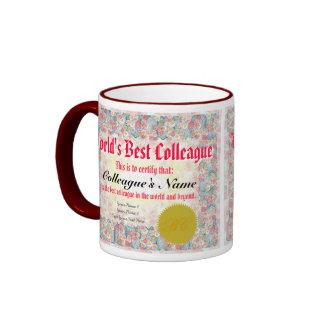 El mejor certificado del colega del mundo taza