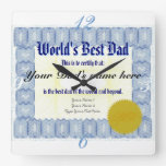 El mejor certificado del papá del mundo relojes de pared