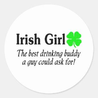 El mejor chica del irlandés del compinche etiquetas redondas