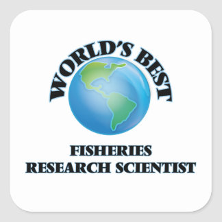 El mejor científico de la investigación pesquera calcomania cuadrada personalizada
