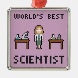 El mejor científico de sexo femenino adorno navideño cuadrado de metal