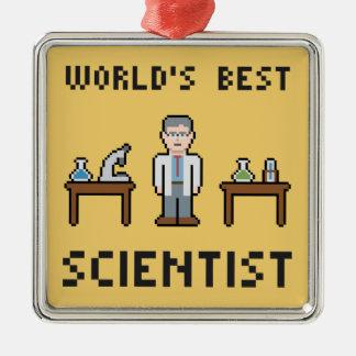 El mejor científico del mundo adorno navideño cuadrado de metal