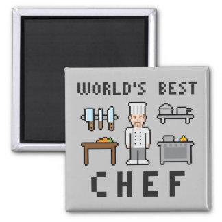 El mejor cocinero del pixel del mundo imán cuadrado
